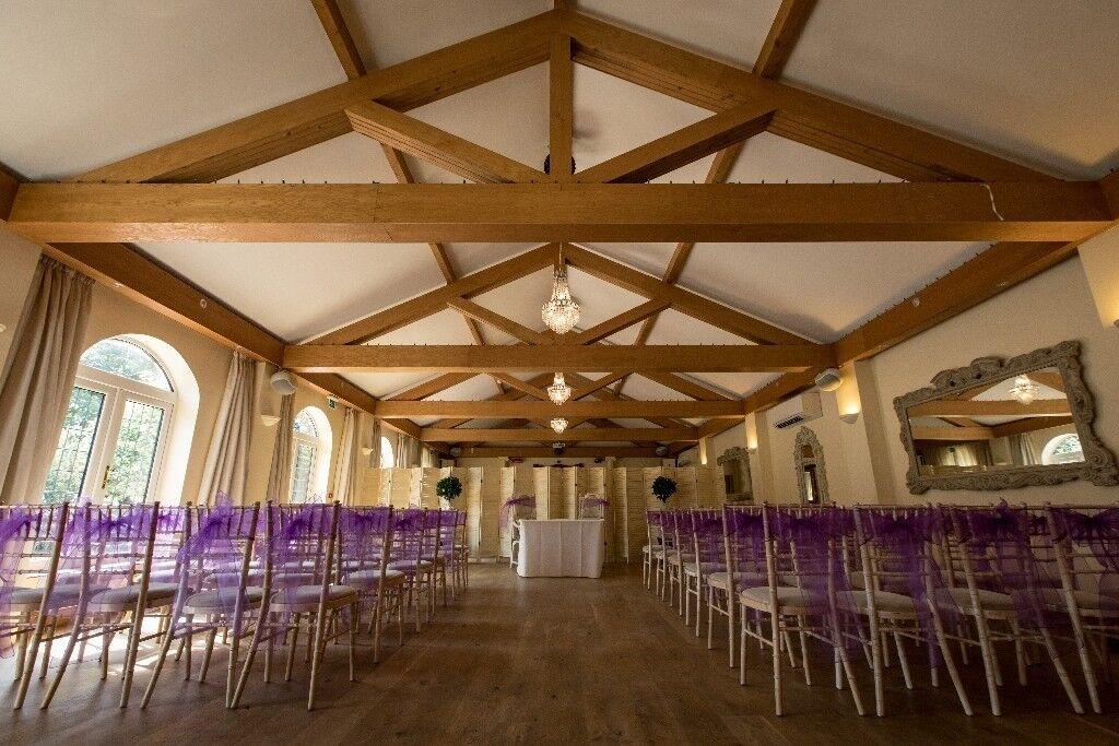 cadbury purple organza chair sashes in wellingborough
