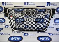 AUDI A4 B8 RS4 FRONT GRILL GLOSS BLACK AND CHROME 2008 - 2012 APROX FITTING FITS B8 MODELS