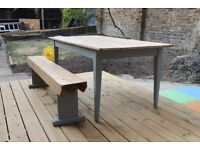 Stunning, rustic antique pine dining table with tapered, painted legs plus bench