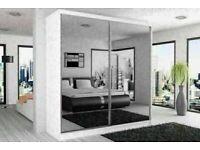 Available Colours Black Wenge White Walnut BERLIN 2 DOOR SLIDING WARDROBE WITH FULL MIRROR