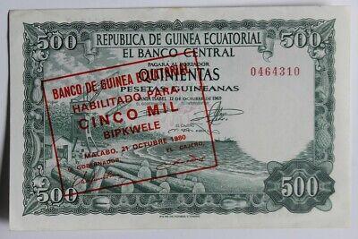 Billet 5000 Bipkwele sur 500 Pesetas Guinée Équatoriale 1980 SPL (43313)