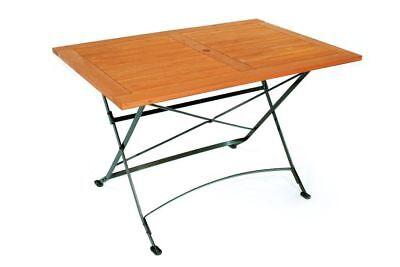 Gartentisch Klapptisch Holztisch SCHLOSSGARTEN 80x120cm Metall + Holz braun