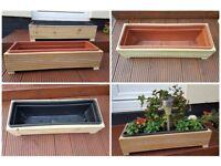Wooden Decking Planter with Plastic Trough / Garden / Herb / Flower 63cm