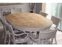 Shabby chic dining table and 6 CARVER chairs