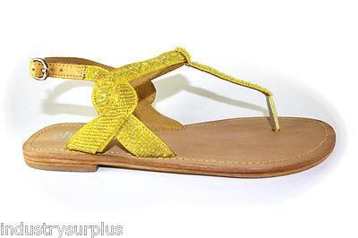 Charles by Charles David Yojana Yellow Leather Buckle Up Flats Sandals