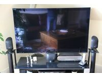 "Sony Bravia 52"" 3D Smart TV with glass & metal stand"