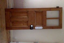 Pine panel door with rim lock