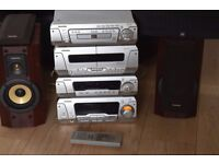 TECHNICS 5 CD CHANGER/DOUBLE CASSETTE/RADIO DVD 230 W HIFI/REMOTE/JAPAN CAN BE SEEN WORKING