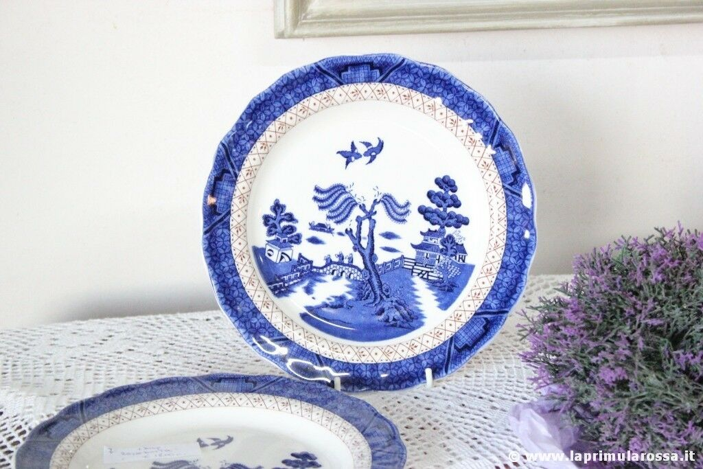 PIATTO DA DESSERT VINTAGE IN CERAMICA ROYAL DOULTON BIANCO BLU SERIE OLD WILLOW