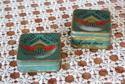 DUE SCATOLE IN LATTA VINTAGE SPILLI ACCIAIO DURI LUS TWO VINTAGE PINS TIN BOX