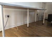 Ikea 2m Desk - White LINNMON Desk top and White ADILS Desk legs