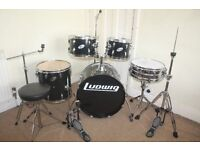 Ludwig Accent Black 5 Piece Full Drum Kit (20 in Bass) with Sabian Solar Hi Hat and Cymbal Set