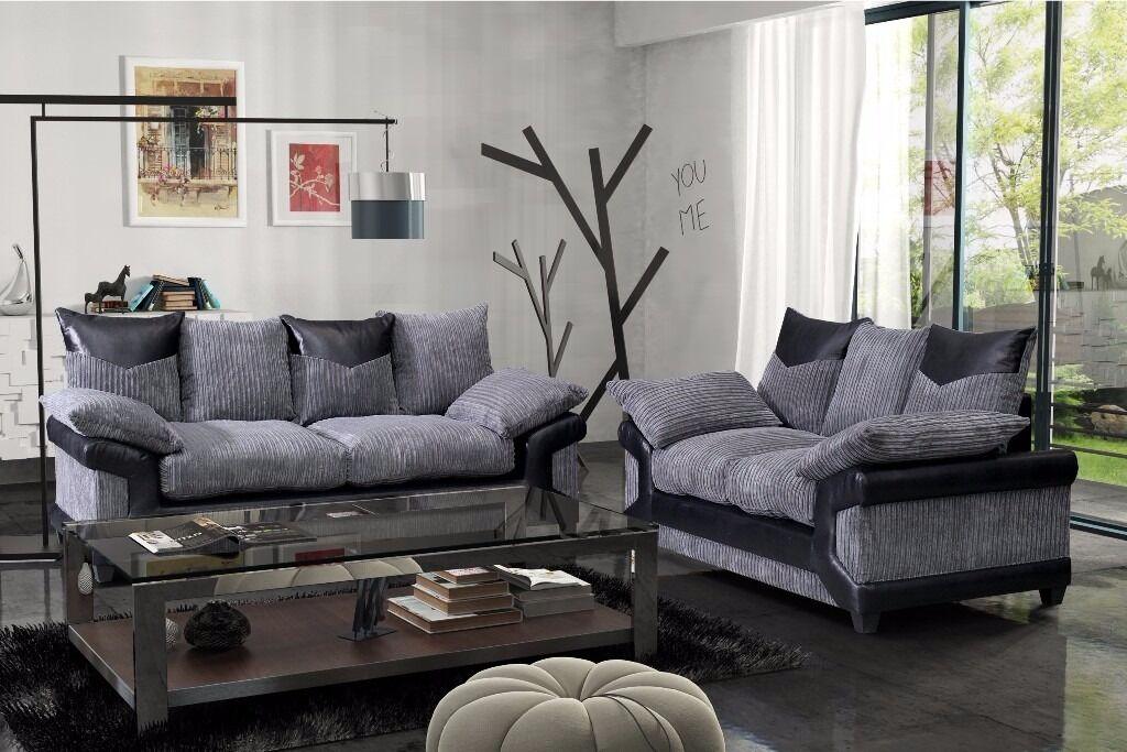 Dino Jumbo Cord Fabric Sofas 3 2 Seater Sofa Set Or