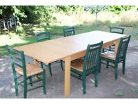 VERY LARGE EXTENDING TABLE, EXTENDS FROM 6 FOOT TO 8.5 FOOT, 32 INCHES WIDE. 6 X CHAIRS