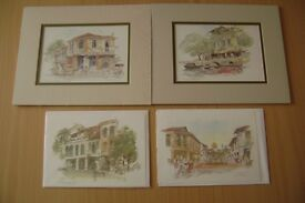 4 PIECE SINGAPORE WATERCOLOUR UNFRAMED MOUNTED PRINTS + NOTE GREETINGS CARDS SET by GRAHAM BYFIELD