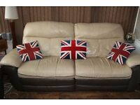 Beige leather electric reclining 3 & 2 seat sofa; plus two single reclining matching chairs.