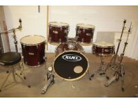Mapex V Series Wine Red Full 5 Piece Drum Kit (22in Bass) + All Stands + Stool + Cymbal Set