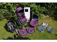 iCandy Strawberry Complete Travel System Pram In Elderberry/Maxi Cosi car seat