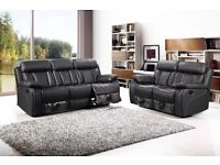 ***SALE***VANCOUVER BLACK FREE DELIVERY NEW LEATHER RECLINER SOFAS