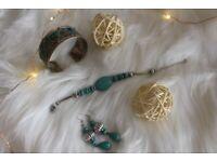Antique 3 Piece Earring, Bracelet, Cuff Bangle Jewellery Set Turquoise Colour