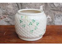 Vintage Belleek Basket Weave Biscuit Barrell / Planter Irish Plant Holder Vase Cookie Jar Shamrock
