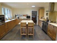 SOLD! Quality solid oak frame kitchen units, quartz worktops and island