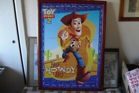 "RARE ORIGINAL TOY STORY 2 ADVERTISING POSTER 37.5"" x 27"" WITH FRAME & HARDBACK"