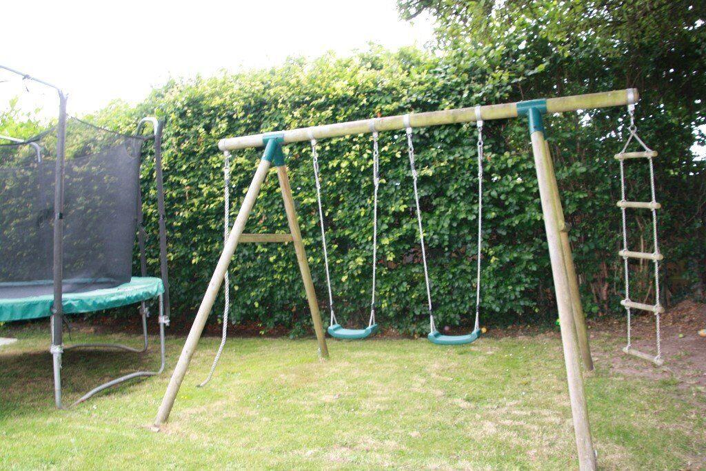 Plum Gibbon Wooden Garden Swing Set Including 2 Swings A Rope