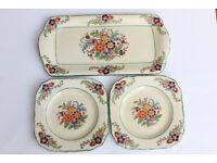 Vintage Minton HandPainted Sandwich Set 2 Side Plates Serving Tray Flowers Saucer Decorated Antique