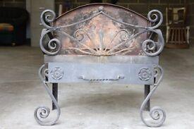 Blacksmith Forged Vintage Iron Fire Basket Dog Grate