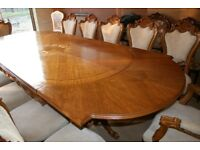 Nice antique table 12 chairs and cabinet