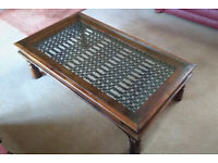 Multiyork - Solid Indian Rosewood/Sheesham Glass Topped Coffee Table
