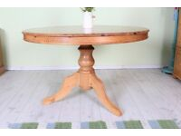 DELIVERY OPTIONS - LARGE RUSTIC SOLID PINE ROUND KITCHEN TABLE CAN SEAT 8 WAXED