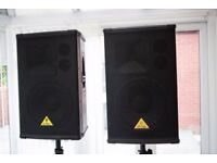 Pair of Behringer B1220 PRO Eurolive High Performance 1200W Passive Speakers