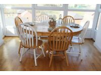 Natural Solid Pine Wood Dinning Table Set *Extendable Table *8 Chairs - May Deliver