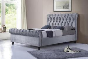 SLEIGH BED - BUY KING, QUEEN AND DOUBLE SIZED PLATFORM BEDS (IF110)