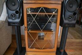 hi fi separates marantz cd player denon amplifier mission speakers / speaker stands /manoganycabinet