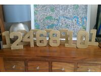 Wedding Gold Glitter Table Numbers 1-12