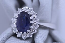 New 18ct WG 2.43 Blue Sapphire and 0.48ct Diamond Ring + Certificate
