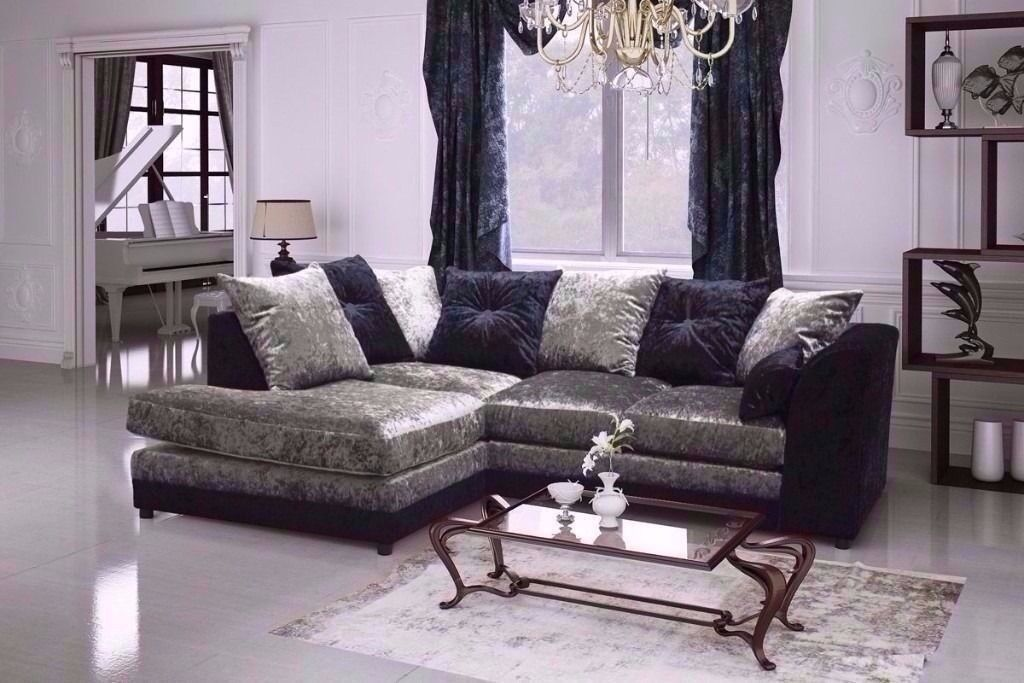 CLASSIC OFFER== NEW DOUBLE PADDED == DYLAN CRUSHED VELVET CORNER SOFA OR 3 AND 2 SOFA