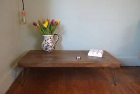 Rustic Low Industrial Coffee Table Mid Century Modern Style