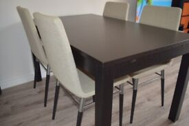 BJURSTA Extendable Table Brown-Black L180-220cm with 4 PREBEN Chairs