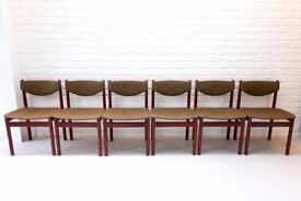 6 Danish Modern Dining Chairs, stamped and numbered, teak wood and green fabric