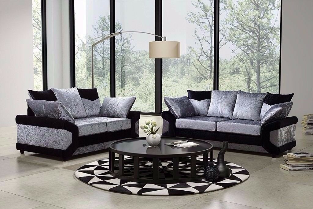 BLACK AND SILVER FINISH-- BRAND NEW DINO CRUSHED VELVET CORNER SOFA AVAILABLE CORNER AND 3+2 SUITE