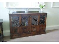 Vintage Dark Oak Low Bookcase / Display Cabinet. Manufactured by Webber