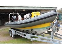 RIB - Spec' XS 7.2m RIB with Suzuki DF 200 Outboard. 155 hours only running time.