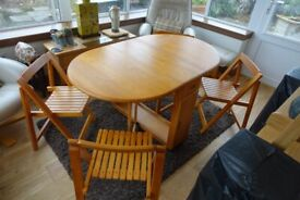 Drop Leaf Dinning Table and 4 Folding Chairs
