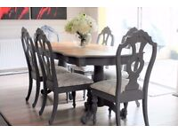 Shabby chic French style dining table and 6 chairs