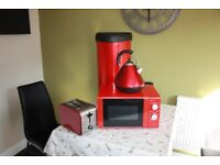 Red Microwave,Kettle,Toaster and Upright Bin