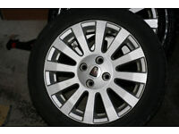 "a set of 15"" Rover 25, 45, 75, 200, 400 alloy wheels 4x100 6Jx15CH-45 with tyres"